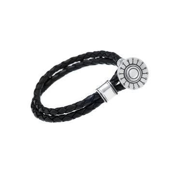 Face The Sun And The Shadow Will Fall Behind You Sterling Silver Leather Bracelet