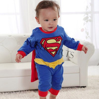 Superman Suit Fancy Costume Jumpsuit for Baby Toddler Kid Boy Romper Gift SV000172 = 1651622212