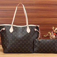 Louis Vuitton LV Women Leather Handbag Shoulder Bag Crossbody Clutch Bag Set Two Piece