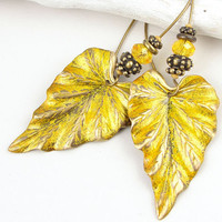 Yellow Jewelry Leaf Jewelry Golden Leaf Earrings Leaves Autumn Jewelry Fall Jewelry Distressed Antique Brass Vintage Style