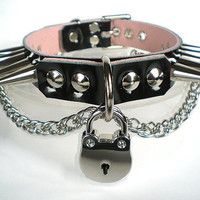 Black Patent & Pink Leather Fetish BDSM bondage Collar with Chain, Padlock, Cone Spikes and dee ring/lock