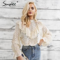 Simplee Sexy ruffle flower lace blouse shirt women Flare long sleeve black blouse 2018 Spring streetwear transparent blouse tops
