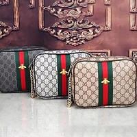 GG classic red and green stripes full letters printed zipper messenger bag mobile phone bag