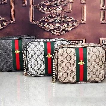 Dior GG classic red and green stripes full letters printed zipper messenger bag mobile phone bag