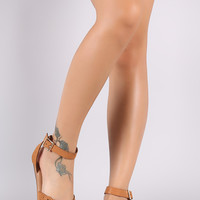 Bamboo Perforated Nubuck Peep Toe Ankle Strap Flat Sandal