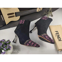 FENDI Trending Women's Black Leather Side Zip Lace-up Ankle Boots Shoes High Boots12
