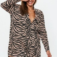 Missguided - Rust Oversized Zebra Print Shirt Dress