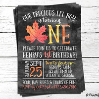 1st Birthday Fall Invitation / Personalized Printable First Birthday Fall Leaf Watercolour Invitation / 1st Birthday Autumn Invitation