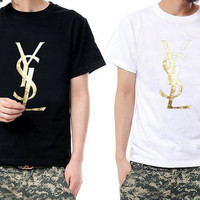 YSL Gold Color Screen printed T-Shirt  Style Hot designer style tshirt  Fashion