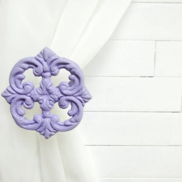 Two Metal Curtain Tie Backs / Curtain Tiebacks / Curtain Holdback / Drapery Tie Back / Shabby Chic Window / Purple Home Decor / Curtain Hook