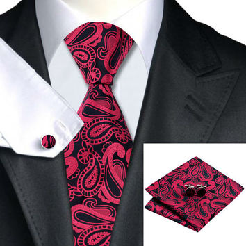 Special Offer Men`s Tie Red Paisley 100% Silk Tie + Hanky + Cufflinks Sets For Wedding Party Business