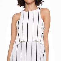 Black and White Sleeveless Striped Layered Top with Back Hole