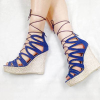 FINAL SALE - Denim Wedges