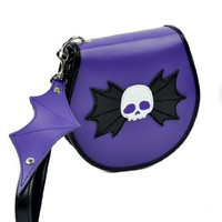 Purple Bat Skull CD / DVD / Disc Holder Wallet Case Holds 24 Discs