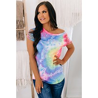 Caribbean Crush Cut Out Sleeve Top (Neon Pink)