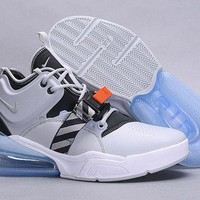 DCCK Nike Nike Air Force 270 Fashion Light gray Casual Leather Women Men Sneakers Sport Shoes Size 36-45