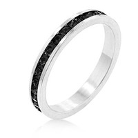Stylish Stackables with Jet Black CZ Ring