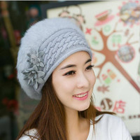 Womens Beret Style Knit Winter Hat with Fur
