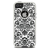The Black Floral Delicate Pattern Skin For The iPhone 5-5s Otterbox Commuter Case