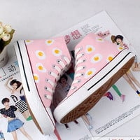 Harajuku cute and pretty, pink, blue, hand-painted canvas shoes