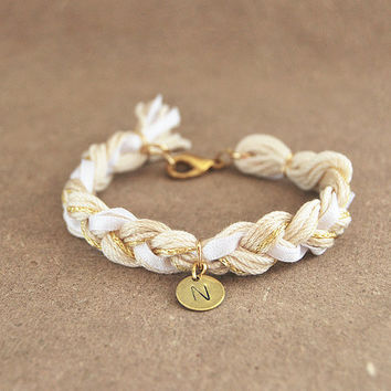 Initial bracelet with hand stamped charm, personalized bracelet with initial charm, beige braided bracelet, gift for her