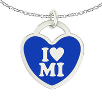 I Love Michigan Sterling Silver Heart Necklace