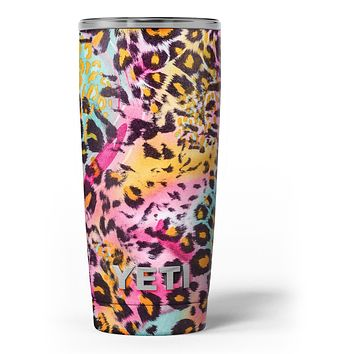 Rainbow Leopard Sherbert - Skin Decal Vinyl Wrap Kit compatible with the Yeti Rambler Cooler Tumbler Cups