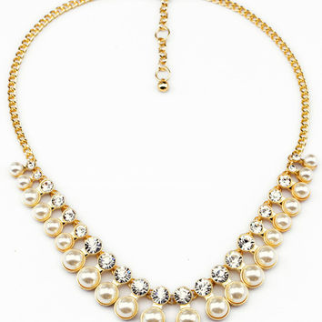 Pearls and Crystal Gold Choker Necklace