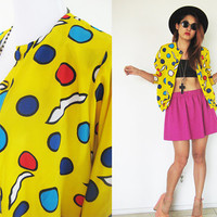 Vintage 80's yellow polka dot button down colorful light top jacket shirt mustard batwing sleeves summer