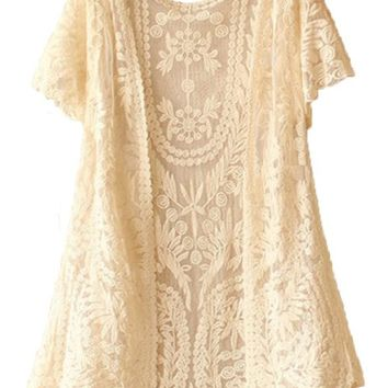 TRURENDI Womens Crochet Knitted Open Vest Boho Casual Summer Cover-Up Tops Blouse (beige)