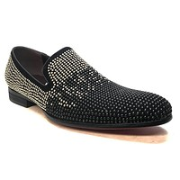 Fiesso Black & Gold Fully Studded Red Bottom Loafers FI208
