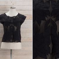 Vintage 1970s Black Floral Cutwork Top / Bali Cutout Boxy Satin & Cotton Top / Mesh Sheer Bohemian Hippie Medium M Top