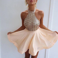 Homecoming Dress, Halter Neck Sequins Cocktail Dresses, Short Prom Dress