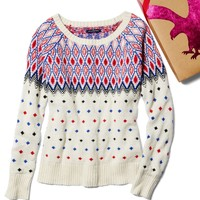 AEO Women's Festive Fair Isle Sweater (Cream)