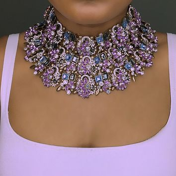 Purple Rose Crystal Necklace