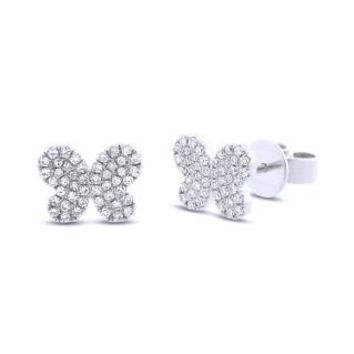 0.22ct 14k White Gold Diamond Pave Butterfly Earring