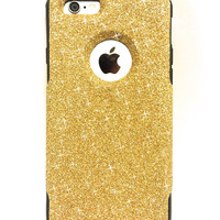 iPhone 6 Plus Custom Glitter Otterbox Commuter Cute Case,  Custom  Glitter  Gold / Black Otterbox Color Cover for iPhone 6 Plus