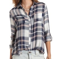 Flyaway Plaid Button-Up Tunic Top by Charlotte Russe - Navy Combo