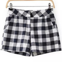 Navy Plaid Straight Shorts