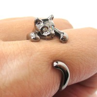 Realistic Kitty Cat Shaped Animal Wrap Around Ring in Gunmetal Silver | US Size 3 to Size 8.5