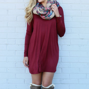Time Well Wasted Burgundy Long Sleeve Shift Dress