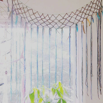 Mermaid Blue Macrame Curtain- RESERVED for Eleanora- Bohemian Decor- Modern Macrame- Pink Wall Accent- Boho Decor- Hippie Decor- BohoChic