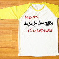 Merry Christmas T-Shirt Santa Shirt Reindeer Shirt Christmas Shirt Yellow Sleeve Women Shirt Men Shirt Unisex Shirt Baseball T-Shirt S,M,L