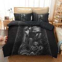 3D Ride & Die Bedding Set, Beauty Halley Motorcycle Duvet Cover with Pillowcase 3pcs Bedroom Duvet Cover Sets Fire Skull Bedding