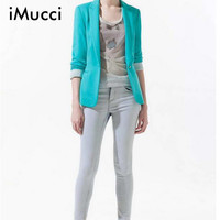 2016 Women Blazers and Jackets Spring Fashion Long Sleeves Suit Lapel Coat Lined With Striped Single Button Vogue Blazers