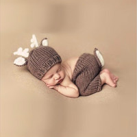 Baby Shower Gifts Crochet Knit Deer Costume Clothing Sets Size Newborn Through 6 Months [8270516673]