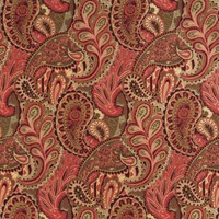 A0024B Burgundy Green And Red Abstract Paisley Contemporary Upholstery Fabric By The Yard