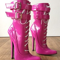 "Maid II 18cm 7"" Stiletto Heel Fetish 2 Buckle Strap Patent Hot Pink Calf Boots"