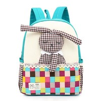 Girls bookbag Kids Gift Hot Sale Baby Girls Kids Cute Rabbit Pattern Plaid Animals Backpack Toddler School Bag New Design Girls Bookbag AT_52_3