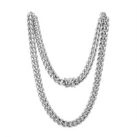 "Stainless Steel 12mm Miami Cuban Link 14k White Gold Finish Chain 24"" Plain Designer Necklace"